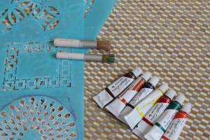 martha stewart stencil paint acrylics bamboo rug home decor diy