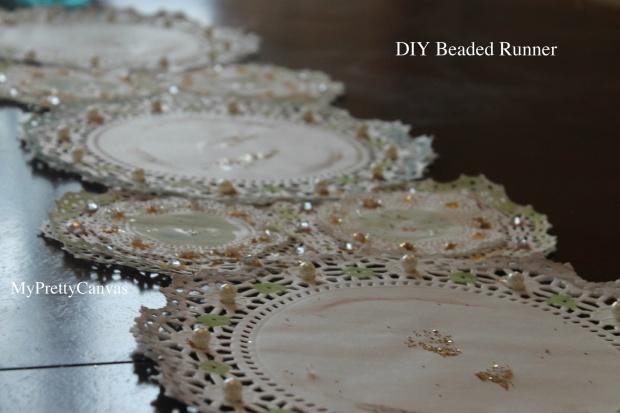 diy beaded runner rug paint pearls rhinestones beads