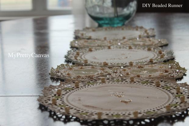 diy beaded runner table top doililes pearls rhinestones