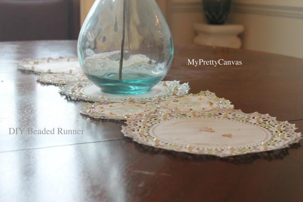 diy beaded runner rug table top dining room pearls rhinestones doilies