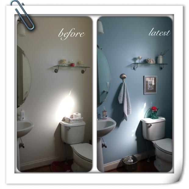 powder room makeover before after sea spray glidden home decor