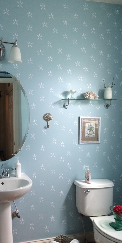 powder room, makeover, decorating ideas, blogging, paint, starfish, summer, sea, home decor, diy