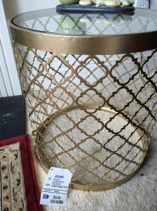 regina andrew replica, table, gold leaf table, glass top, rub n buff, home decor, diy,blogging
