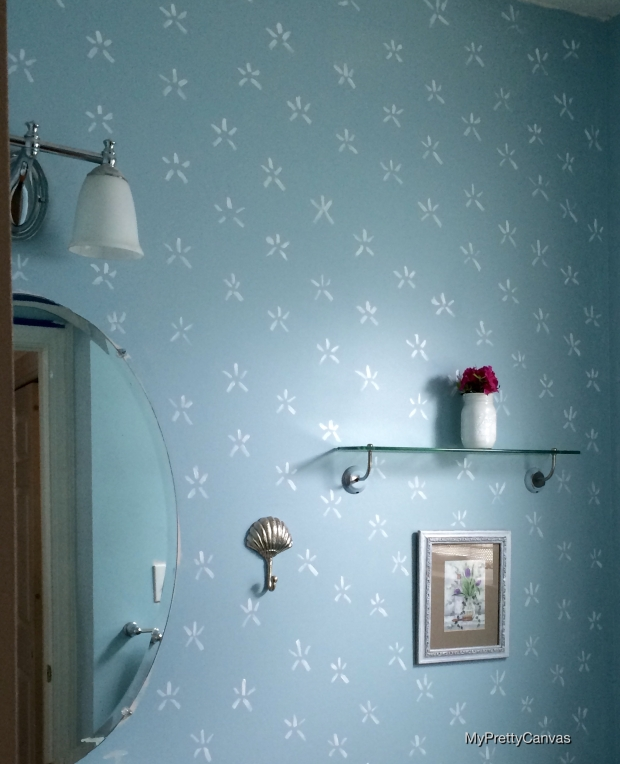 makeover, powder room, home decor, decorating ideas, tips, starfish stencil, painting, diy