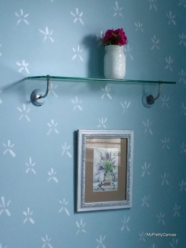 makeover, powder room, home decor, decorating ideas, tips, starfish stencil, painting, diy, mason jars,azaleas