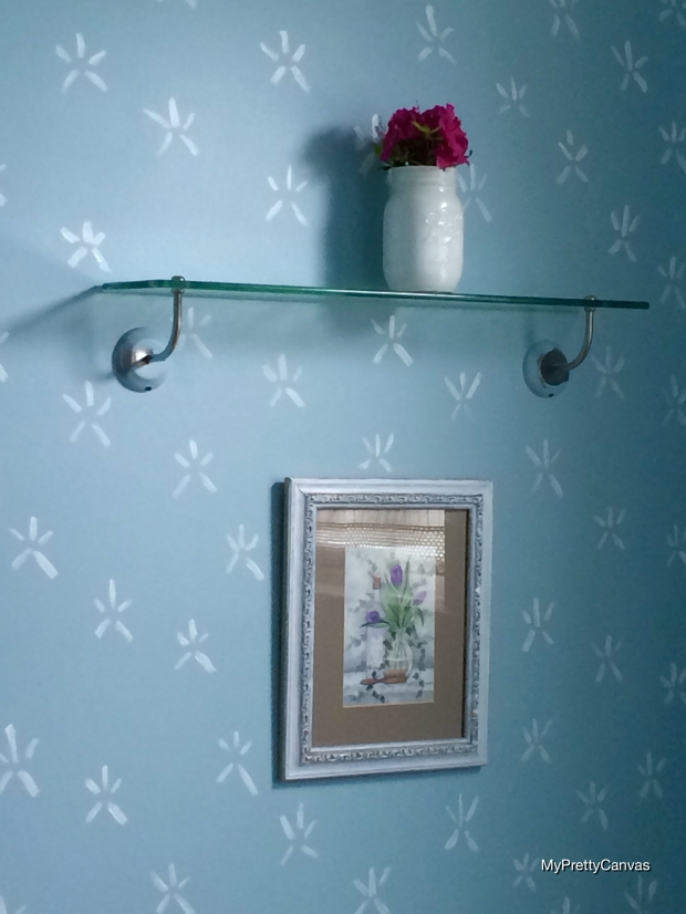 makeover, powder room, home decor, decorating ideas, tips, starfish stencil, painting, diy, mason jars,azaleas