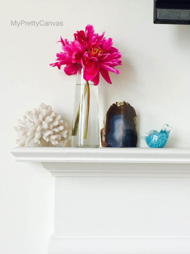 peonies, agate bookends, homegoods, shells,blue bird, home decor, decorating ideas